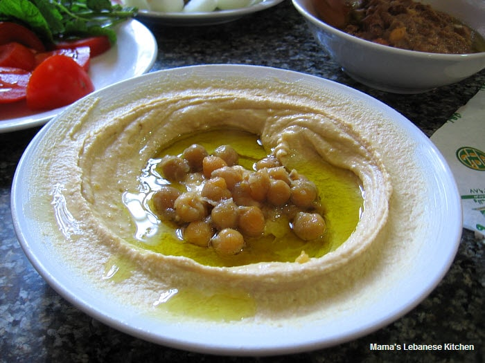 Hummus Recipe Plate of Hummus at Dannoun Restaurant in Tripoli Lebanon