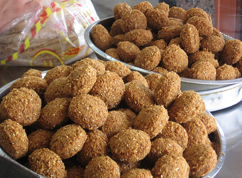 Lebanese Falafel Recipe - Freshly Fried Falafel Displayed at a Street Food Vendor in Tripoli, Lebanon