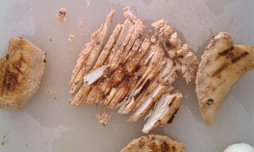 Home made shredded chicken shawarma
