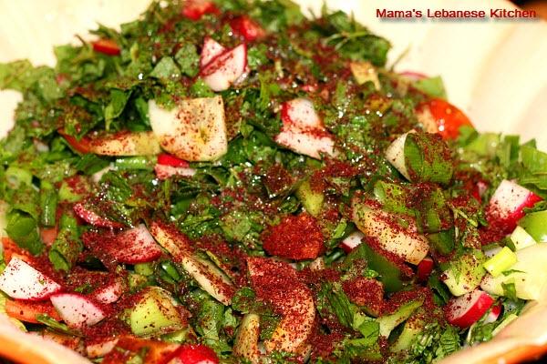 fattoush salad with sumac