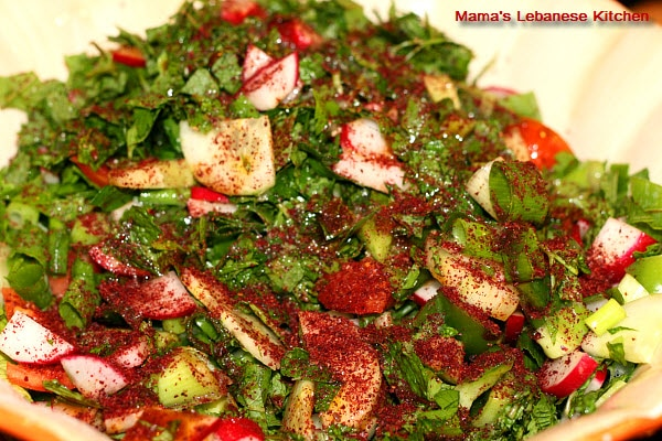 fattoush salad with sumac