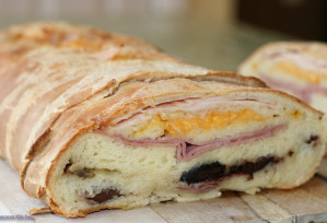"""Smoked Turkey and Cheese Home Baked Bread """"Garbage Bread"""" – Pate Noel Recipe"""