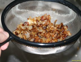 Strain Oil From Caramelized Onions
