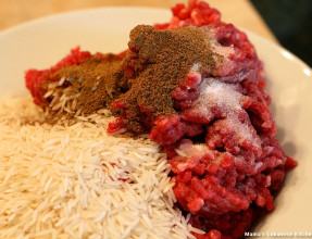 Mix Ground Beef With Spice and Rice