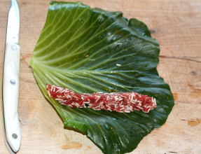 Place Stuffing on Edge of Leaf then Roll
