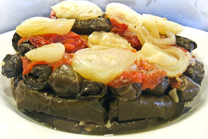 Vegetarian stuffed grape leaves recipe mahshi warak enab mamas stuffed grape leaves forumfinder Choice Image