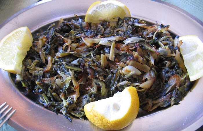 dandelion saute with onions mamas lebanese kitchen - Lebanese Kitchen